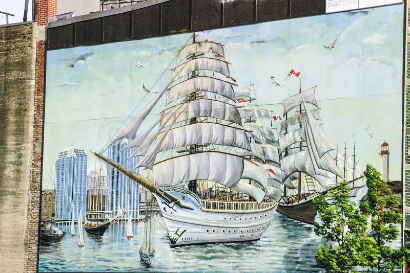 Tall ships mural.