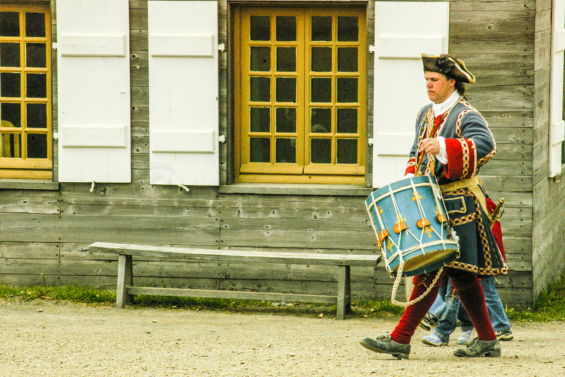 A renactment drummer at the Fortress of Louisbourg National Historic Site