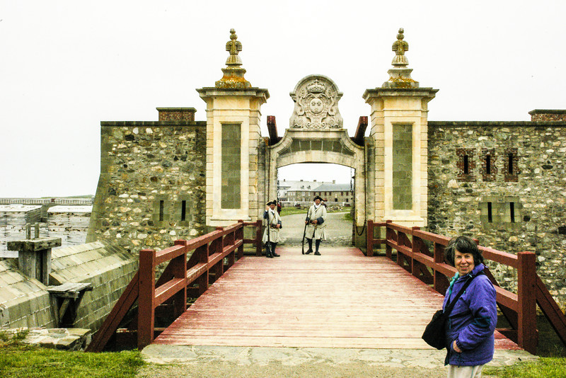 Leona at the bridge over the mote to the Fortress of Louisbourg National Historic Site.