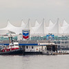 Floating gas station & Canada Place, Vancouver, British Columbia