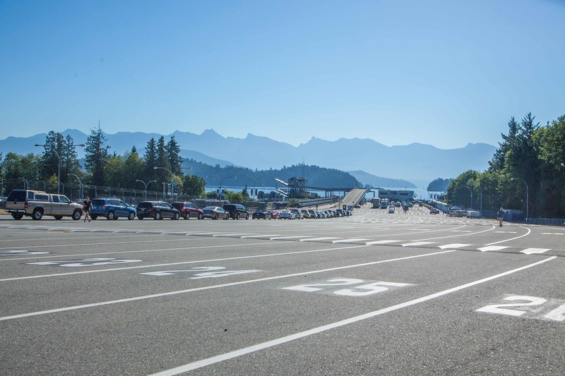 "Waiting for the ferry to Victoria. Waiting for ferries is a career in BC. The Vancouver to Victoria ferry carries 600 cars plus a dozen semis and ""large"" vehicles. The ferry fares are not high at all considering the task, but refreshments/meals are astronomical."