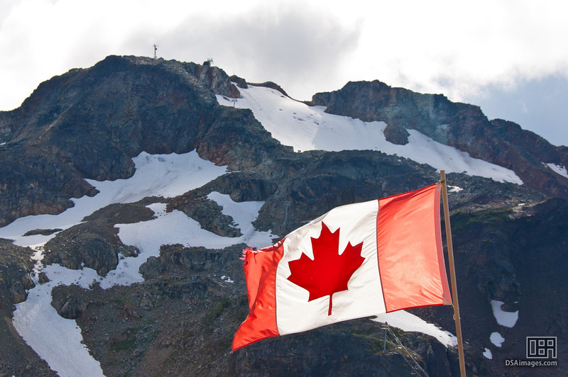 Canadian flag and Whistler Mountain