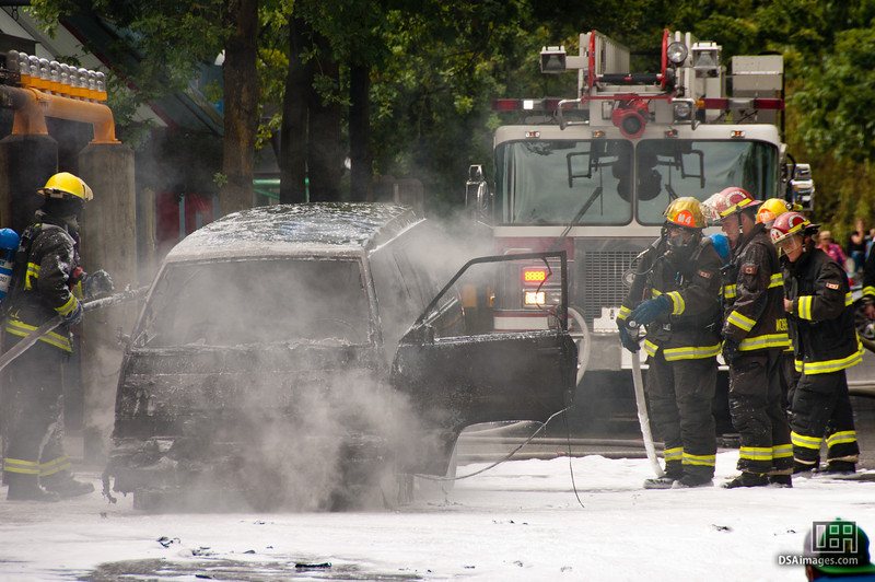 A car fire on Granville Island, Vancouver