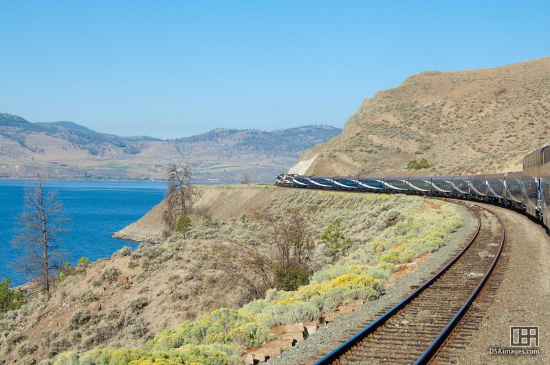 Rocky Mountaineer train by Kamloops Lake