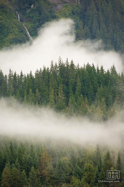 Mist through the mountains near Mendenhall Glacier, Juneau
