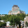 Quebec hop on-hop off bus tour - Place Royale, with view of Frontenac castle