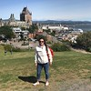 Kiera, at the Citadel, with Frontenac Castle and the St. Lawrence in the background