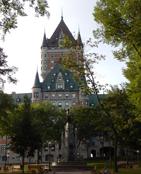 Castle Frontenac, witch Recollet missionaries memorial in adjacent park.