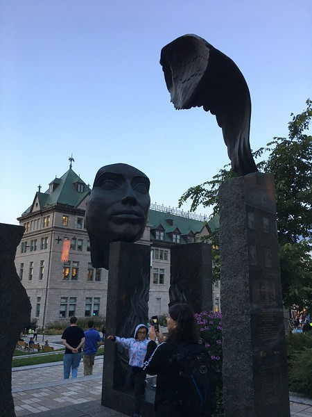 A sculpture on the corner near the Hitel de Ville in Quebec