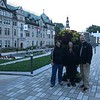 Michelene, janine and Michael, at the Hotel de Ville, Quebec.