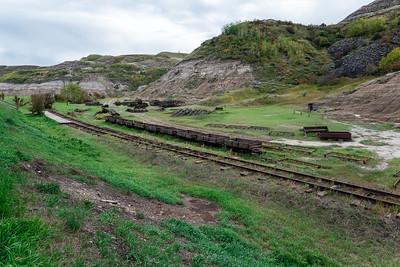 Abandoned railway coal cars