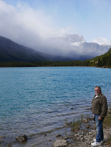 On the shore of Waterfowl Lake
