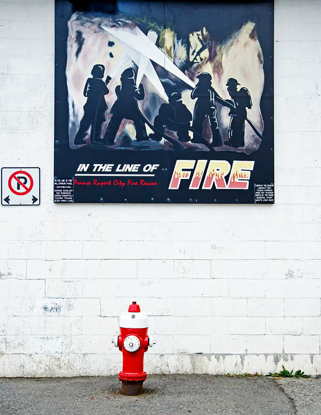 Prince Rupert Fire Station wall murale, British Columbia, Canada.