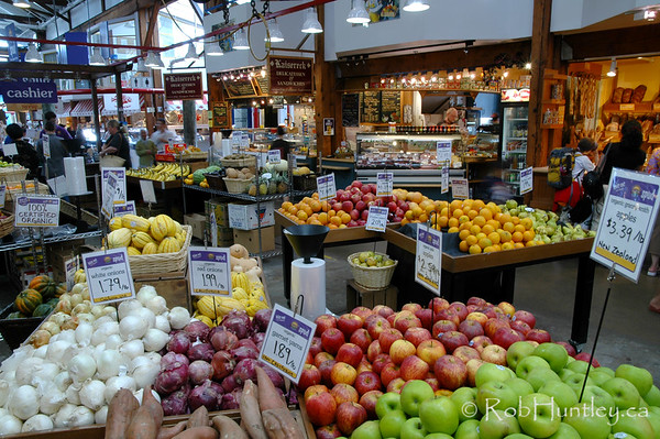 Fruit and vegetable market area on Granville Island, Vancouver, British Columbia. © Rob Huntley