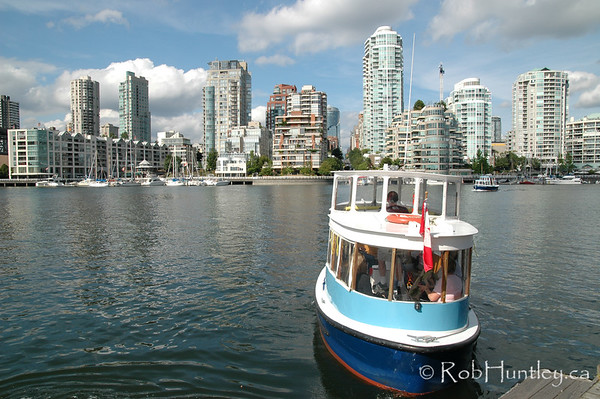 Water taxi leaving Granville Island, Vancouver, British Columbia.