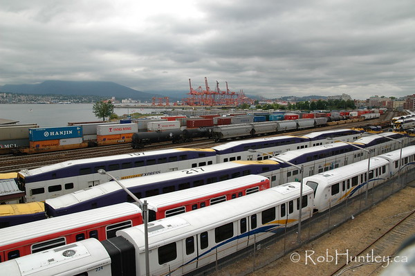 Trains at Vancouver harbour area, Vancouver, British Columbia.