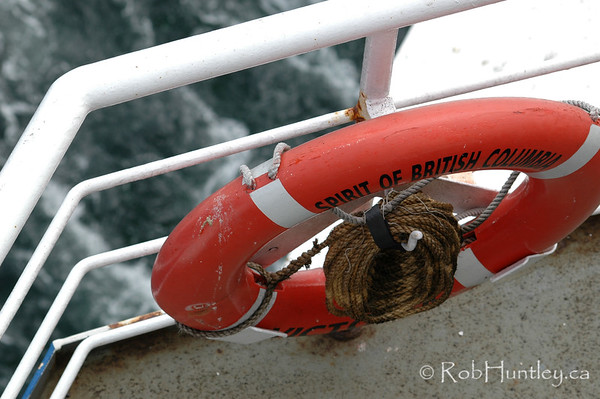 Life preserver on BC Ferries' Spirit of British Columbia, sailing from Victoria to Vancouver. © Rob Huntley