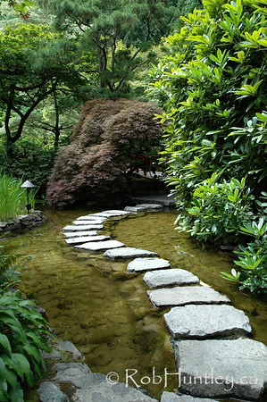 Pathway through a Japanese garden at the Butchart Gardens, Victoria, British Columbia. © Rob Huntley
