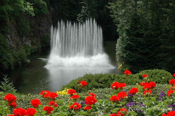 Fountain at the Butchart Gardens, Victoria, British Columbia. © Rob Huntley