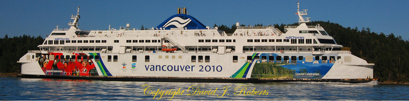 BC Ferry in Active Pass near Mayne Island, BC - Panorama.  (Please click on the contact button if you would like a print of this image.)