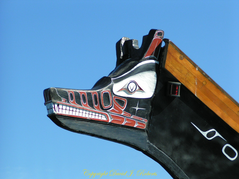 Bow of Tribal Canoe. Oak Bay, British Columbia