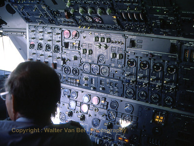 """View on the instrument panel of the flight-engineer of one of Sabena's wide-body's (Boeing 747-129M, """"OO-SGB""""), during our flight (SN569) to Mirabel, Canada (CYMX). I was very lucky to be allowed in the cockpit during the flight. Scan from slide."""