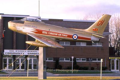 RCAF Sabre - in the c/s of the Golden Hawks aerobatic team (At Belleville - Trenton). Scan from old slide