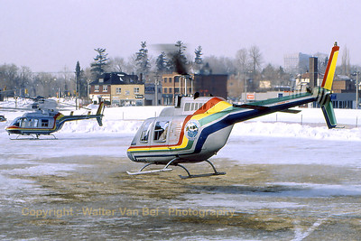"During the ""Winterlude Festival"", two Bell206B Jetrangers from ""Niagara Helicopters Limited"" were present in Ottawa and were providing pleasure flights around Canada's capital. Scan from old slide."