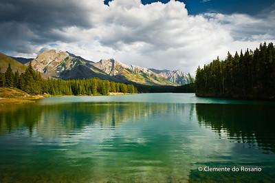 Johnson Lake is part of the Minnewanka Loop drive in Banff National Park, Alberta Canada