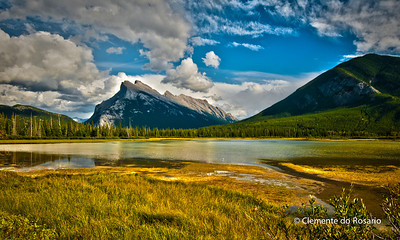 A view of Mount Rundle across Vermillion Lakes, Banff National Park, Alberta