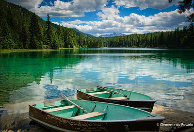 This beautiful lake is on one of the hiking trails near Lake Louise in Banff National Park