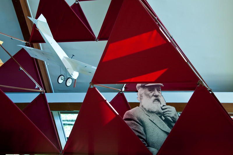 Alexander Graham Bell and his 1907 airplane,<br /> the Silver Dart