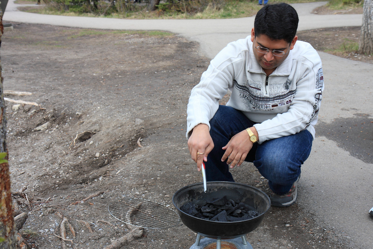 Hitesh trying his hand on Barbecue