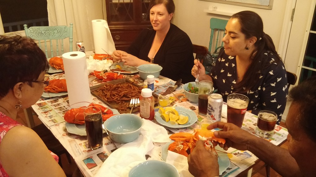 Family time crushing the Lobsters ... along with Ken's Island Fries (the best fries on the island)