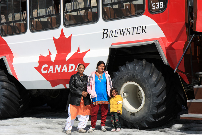 This picture gives idea about real size of Columbia Icefield tour bus. Wheels are almost 5 feet diameter