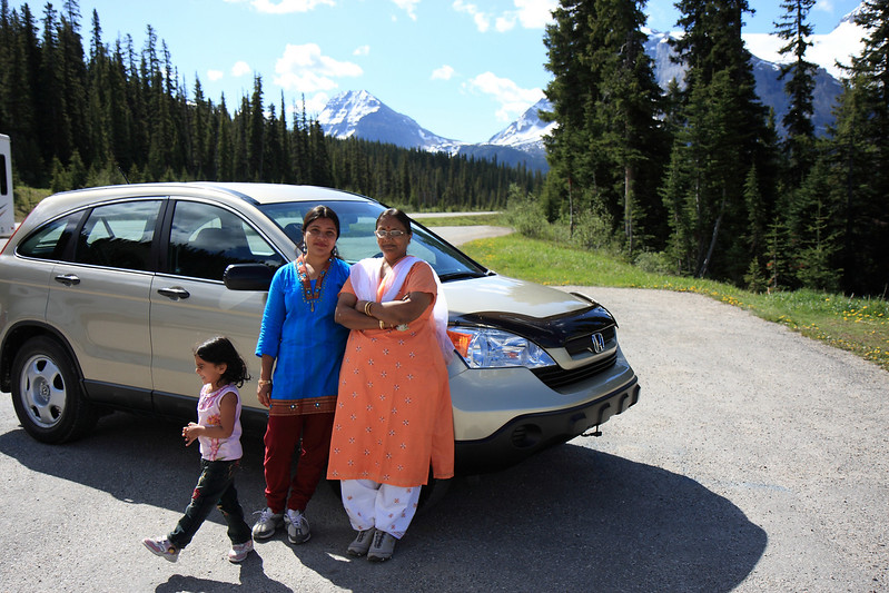 Car Parked near Bow lake & Bow Glacier