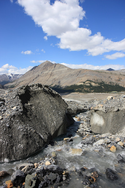 Water from melting glaciers