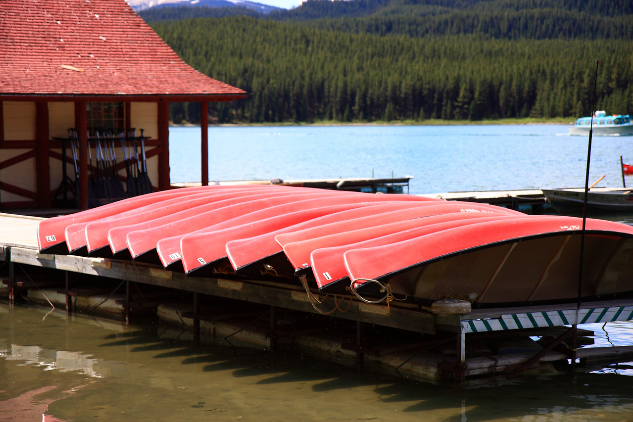 Nicely arranged canoe at Maligne Lake