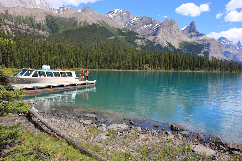 Maligne Lake tour boat landed at Spirit Ireland