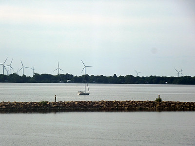 July 19/14 - View from our hotel window: Wind farm on Wolfe Island, Kingston