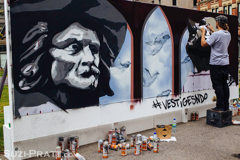 Graffitti Artist in Old Montreal, Quebec, Canada