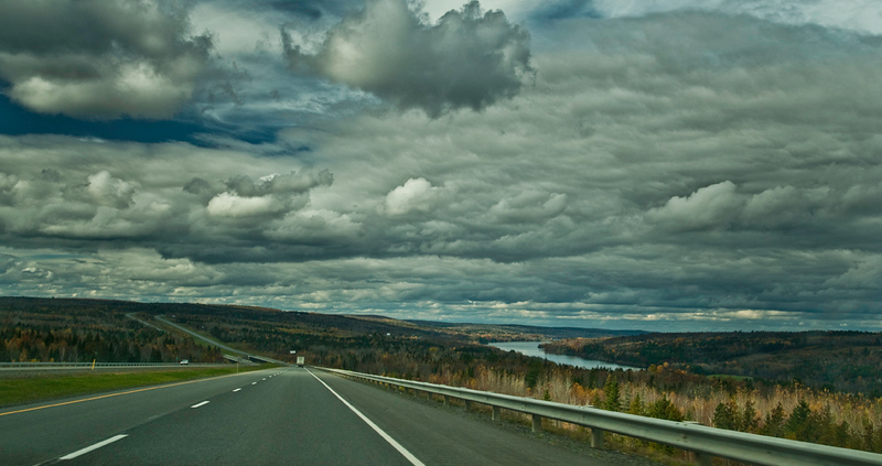 On the road, from the car, near the US border, NB