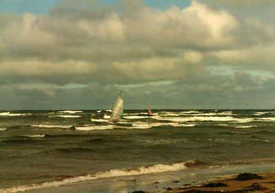 Wind surfers at Cavendish