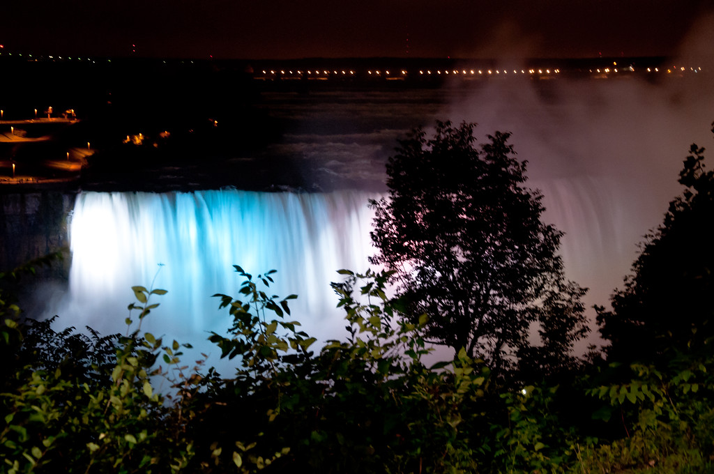 The American Falls at night.