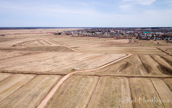 Sod farm in spring. Aerial photograph. Amherst, Nova Scotia.