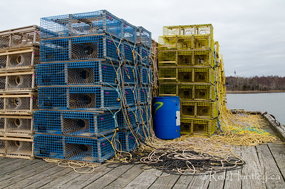 Lobster traps on the wharf at Big Island, Nova Scotia