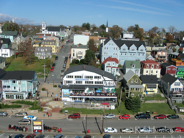 Aerial shot of the fishing community of Lunenburg