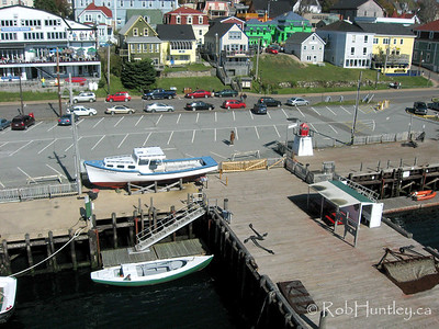 Aerial shot of the fishing community of Lunenburg from the wharf at the Fisheries Museum of the Atlantic in Lunenburg, Nova Scotia, Canada. This picture was taken from a camera rig suspended below a kite (Kite Aerial Photography - KAP). © Rob Huntley