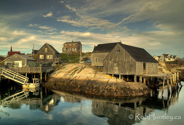 Boat wharves and sheds at Peggy's Cove, Nova Scotia.