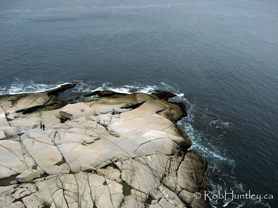 Aerial photograph of the rocky shoreline near the lighthouse at Peggy's Cove, Nova Scotia, Canada. This picture was taken from a camera rig suspended below a kite (Kite Aerial Photography - KAP). © Rob Huntley